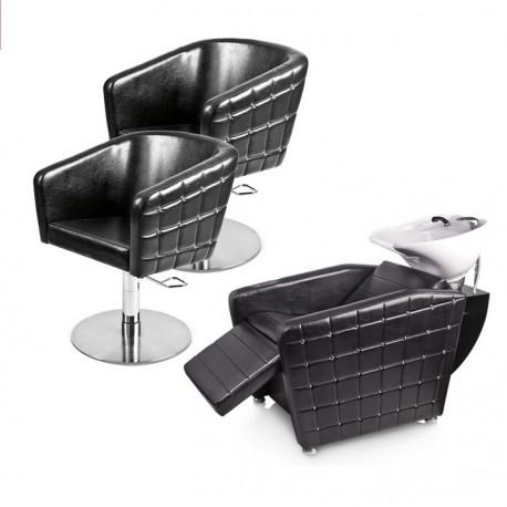 Zestaw mebli fryzjerskich Panda 2x fotel Glamrock + myjnia fryzjerska Glamrock