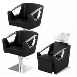 Zestaw mebli fryzjerskich Panda 2x fotel Elite + myjnia fryzjerska Elite