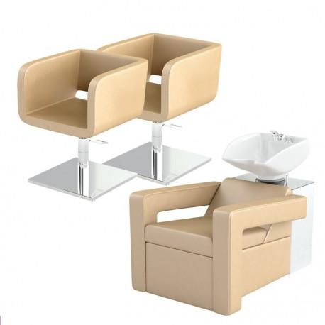 Zestaw mebli fryzjerskich Panda 2x fotel Shine + myjnia fryzjerska Shine